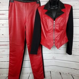 Caché Red Leather Jacket and Pant Suit